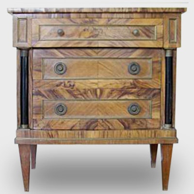 Italian Olive Wood Biedermeier Commode - Online Furniture Auctions Vintage Furniture Auction Antique