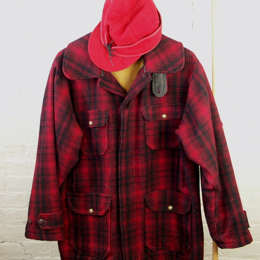 0d1533468fd43 Vintage Woolrich Red Plaid Hunters Coat and Red Wool Stormy Kromer Cap ...