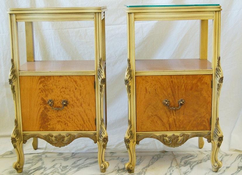 Louis XV Style Walnut Crotch Veneer Boudoir End Tables