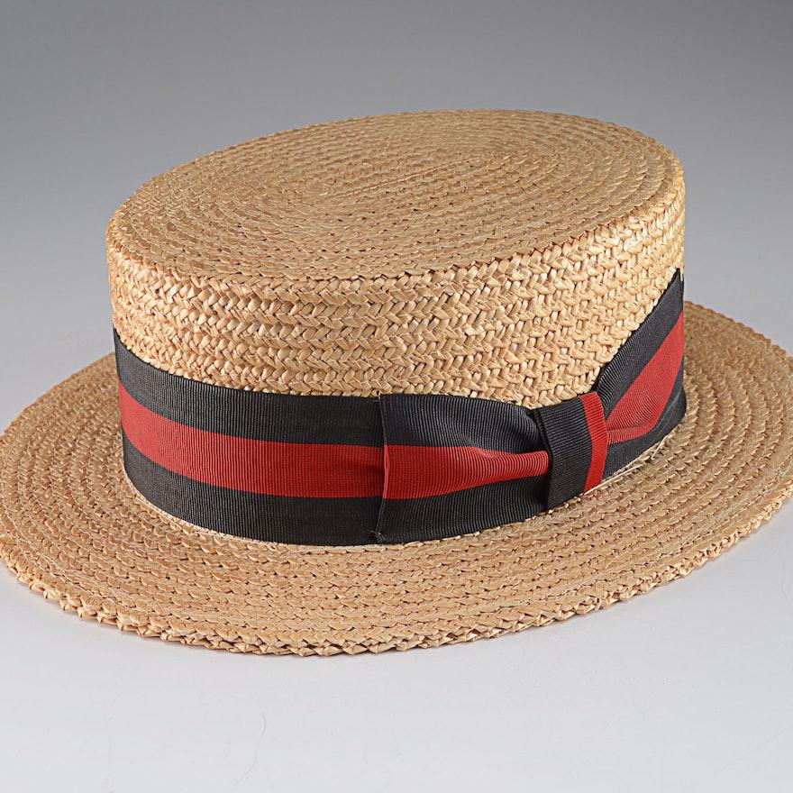 ac7f75f9436 Vintage Italian Straw Boater Hat   EBTH