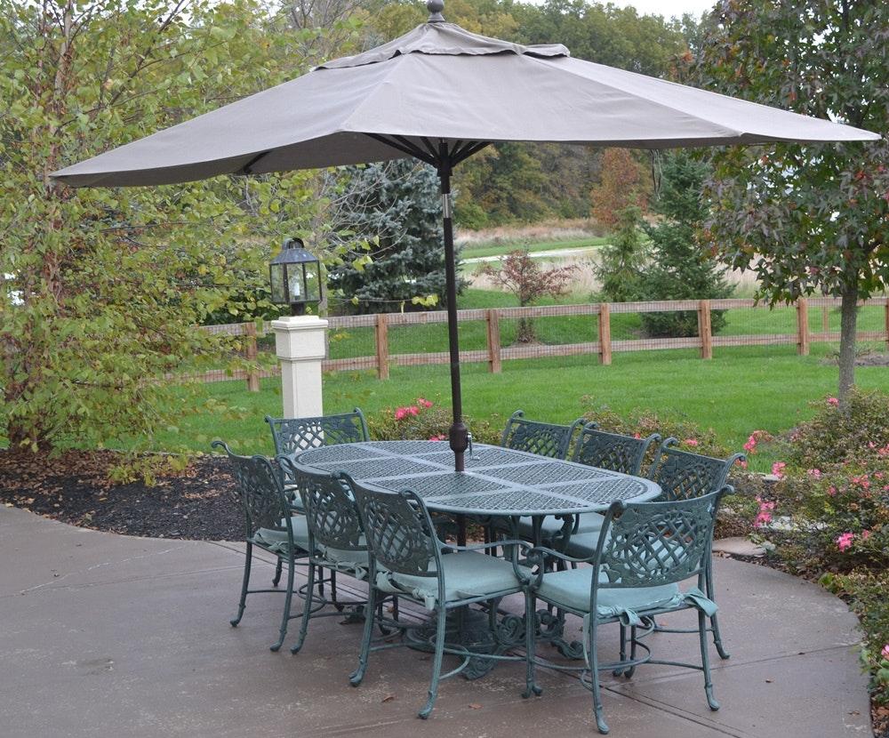 Exceptionnel Cast Classics Landgrave Cast Aluminum Patio Set Table 8 Chairs U0026 Umbrella  ...