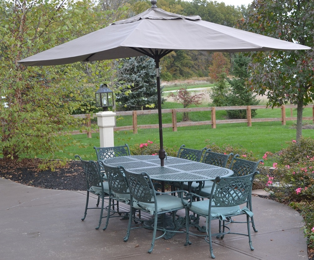 Lovely Cast Classics Landgrave Cast Aluminum Patio Set Table 8 Chairs U0026 Umbrella  ...