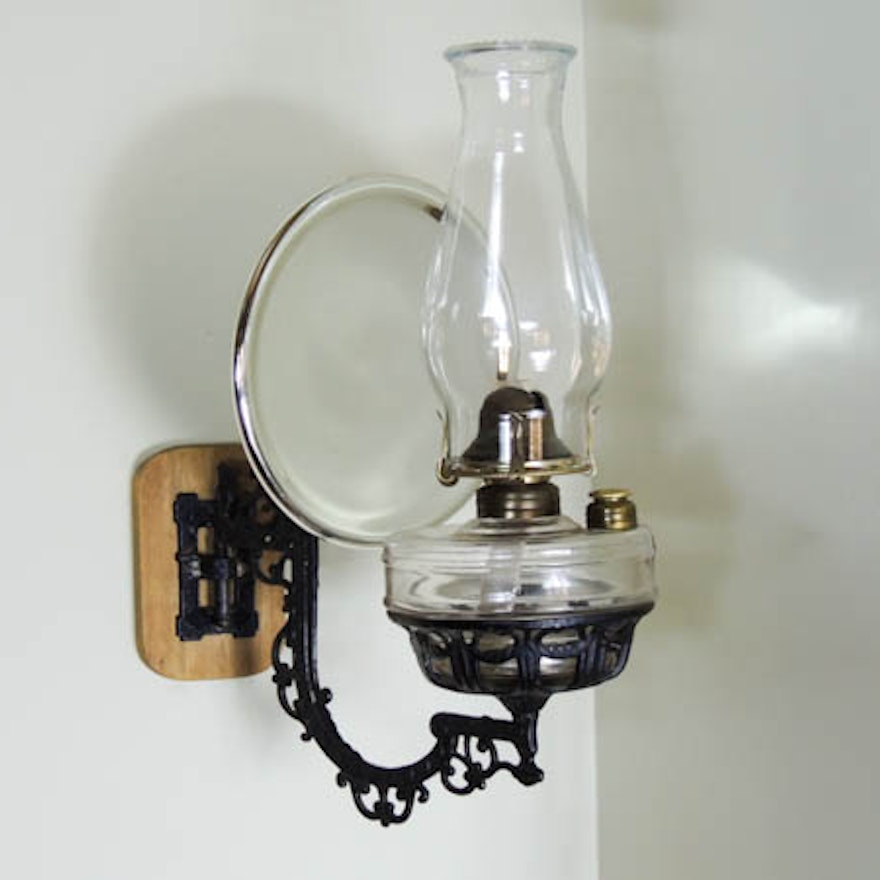 Victorian Cast Iron Wall Mount Oil Lamp Bracket, Mercury Glass Reflector,  Lamp ... - Victorian Cast Iron Wall Mount Oil Lamp Bracket, Mercury Glass