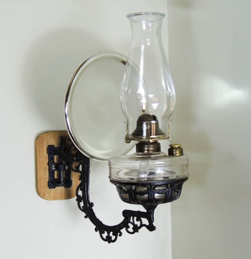 Victorian Cast Iron Wall Mount Oil Lamp Bracket, Mercury Glass Reflector, Lamp : EBTH