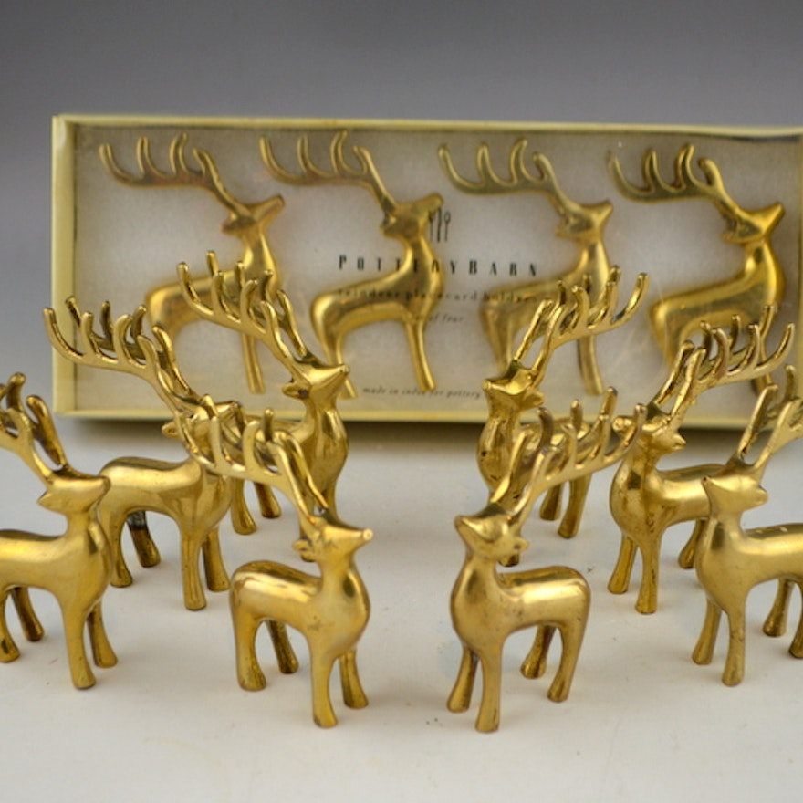 Set Of 12 Pottery Barn Reindeer Place Card Holders