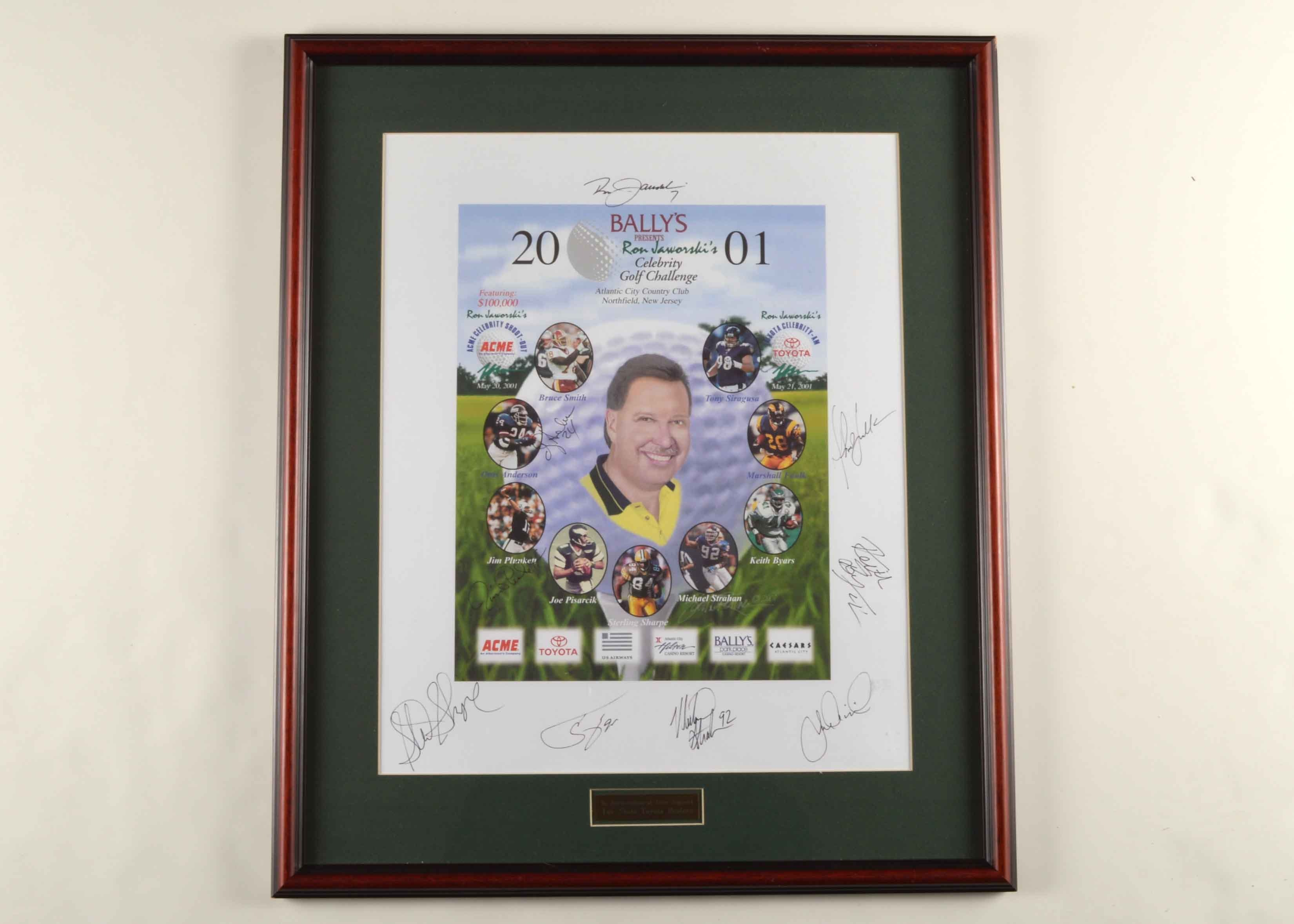 Framed Ron Jaworski Autographed Gold Tournament Poster Sharpe, Strahan,  Byars, Faulk ETC.