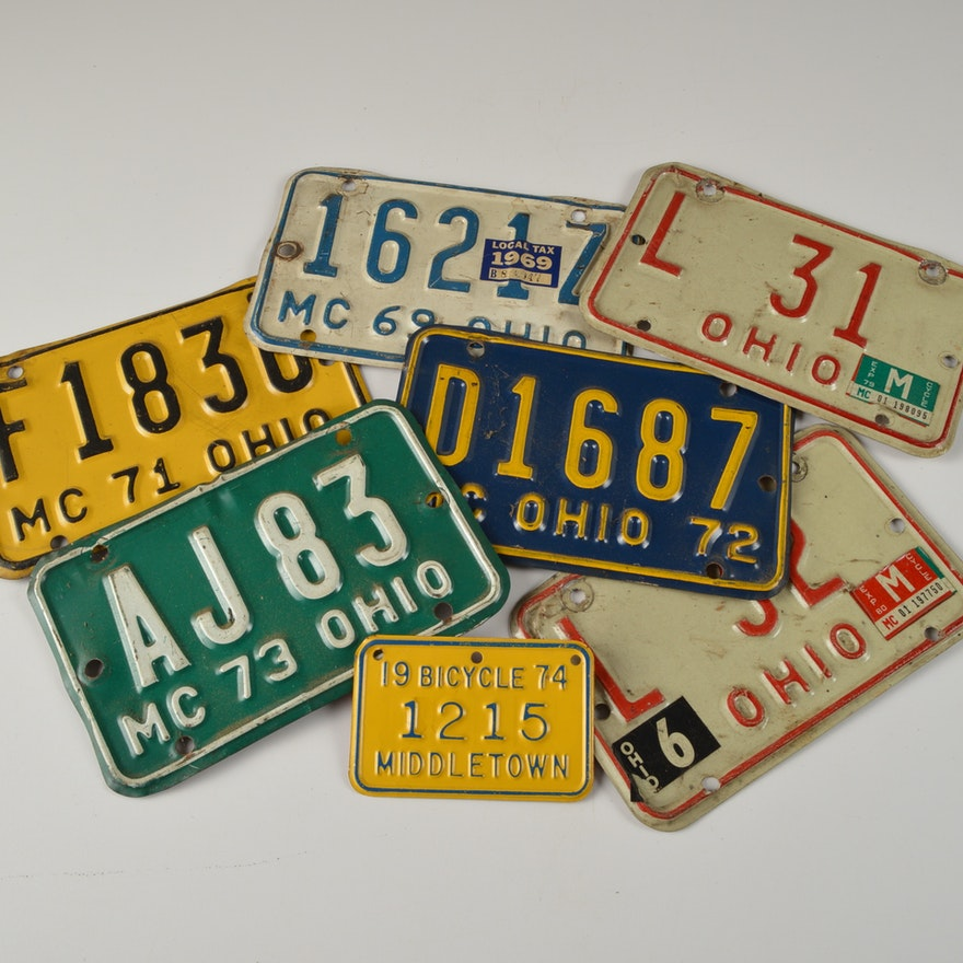 Lot of Vintage Motorcycle License Plates : EBTH