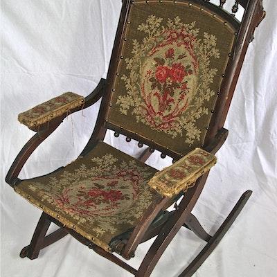Antique Eastlake Victorian Folding Rocking Chair - Online Furniture Auctions Vintage Furniture Auction Antique