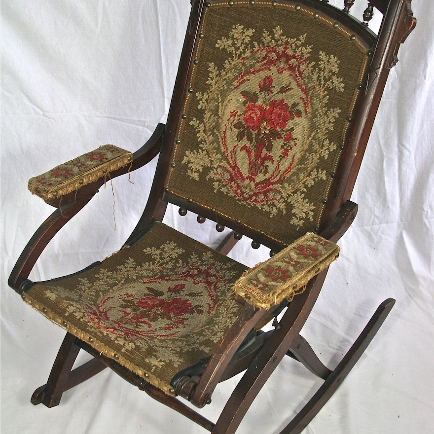 Antique Eastlake Victorian Folding Rocking Chair ... - Antique Eastlake Victorian Folding Rocking Chair