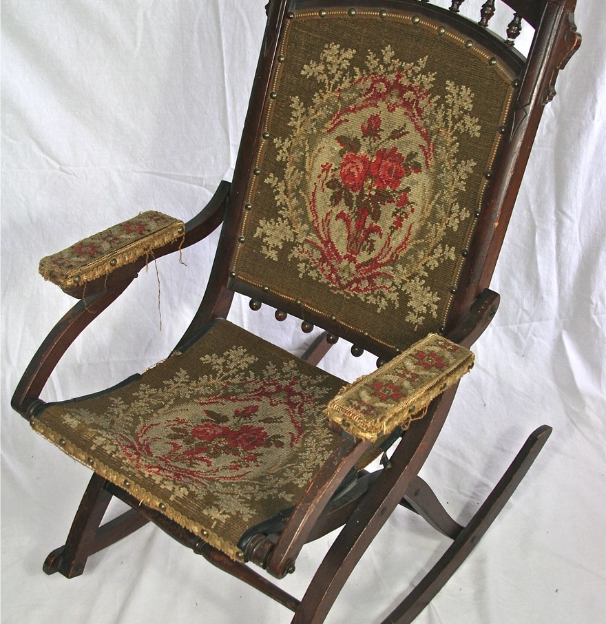 Victorian rocking chair - Antique Eastlake Victorian Folding Rocking Chair