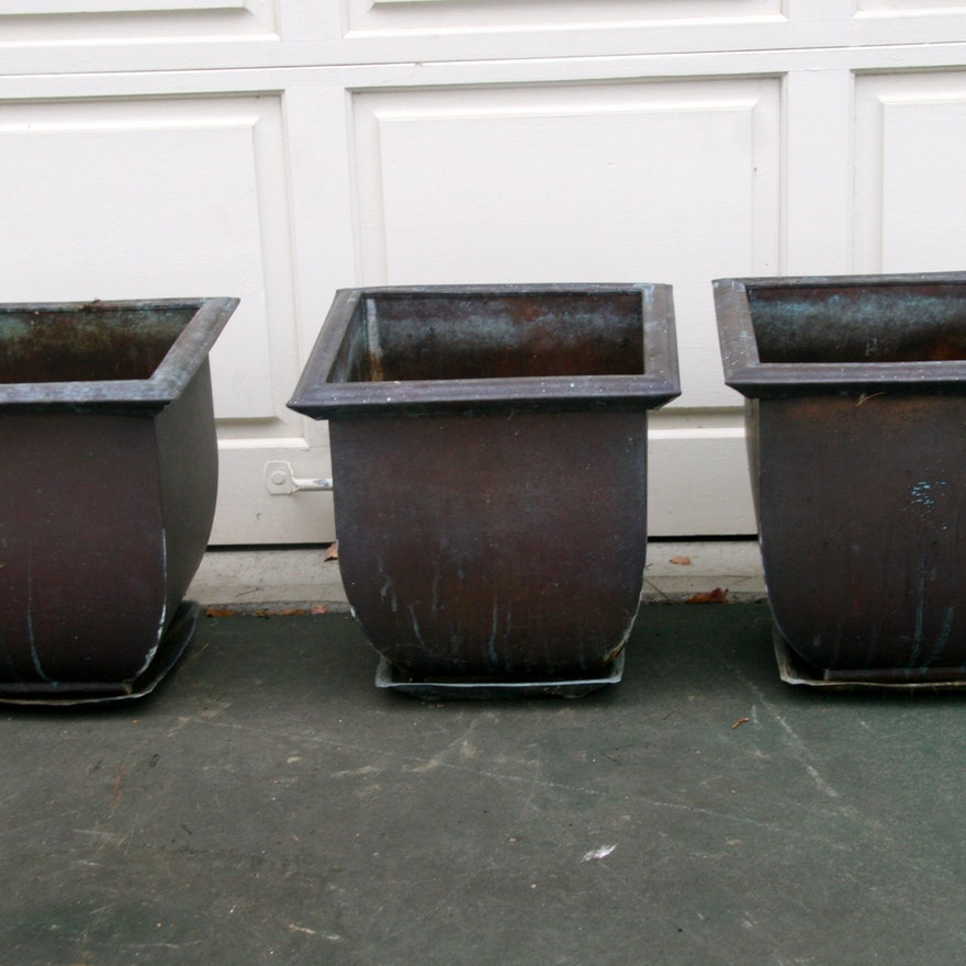 Three Smith And Hawken Copper Planters Ebth