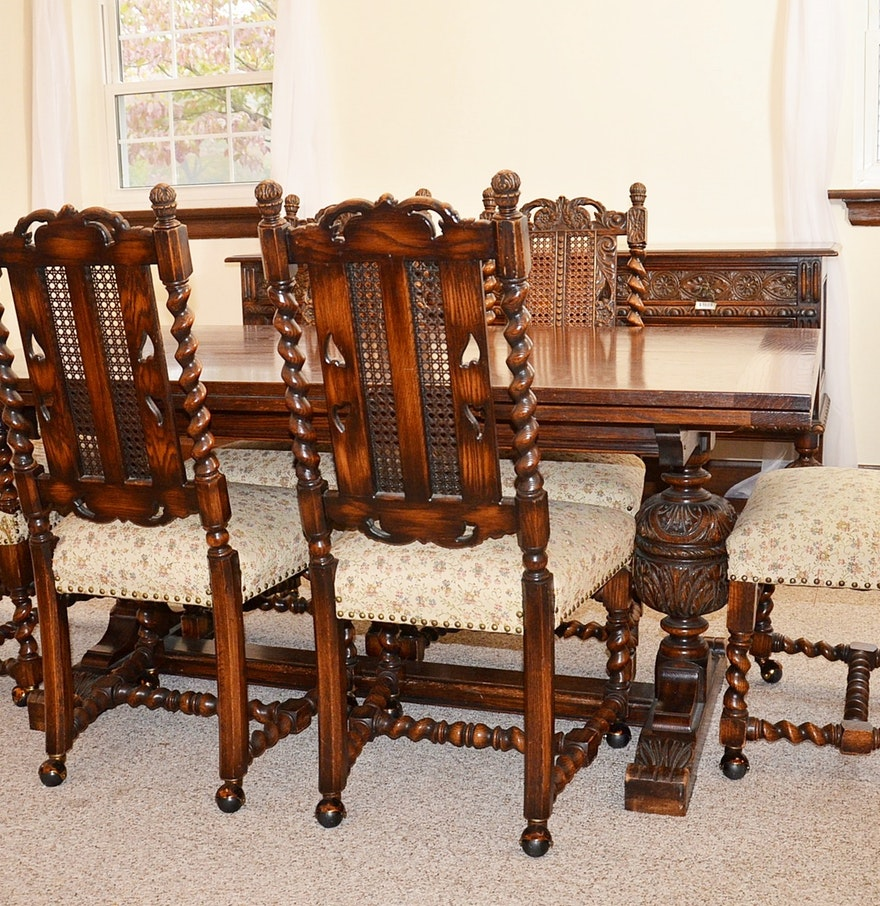 Early 20th Century Jacobean Revival Oak Dining Room Table and ...