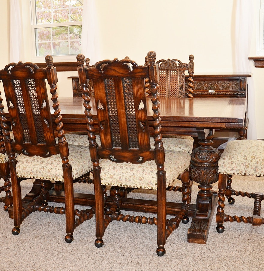 Early 20th Century Jacobean Revival Oak Dining Room Table And Chairs Ebth