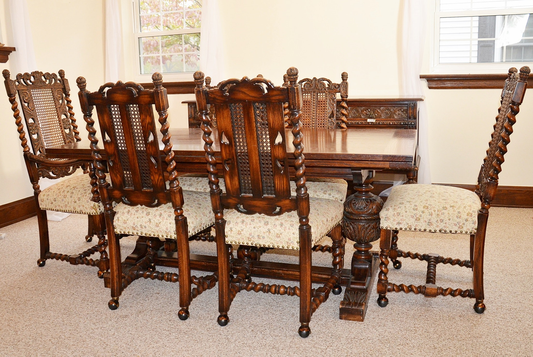Early 20th Century Jacobean Revival Oak Dining Room Table And Chairs ...