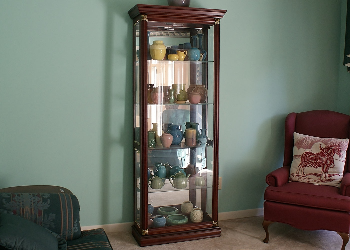 #866845 Mahogany Stain Wood & Glass Lighted Display Cabinet : EBTH with 1400x1000 px of Recommended Mahogany Display Cabinets With Glass Doors 10001400 save image @ avoidforclosure.info