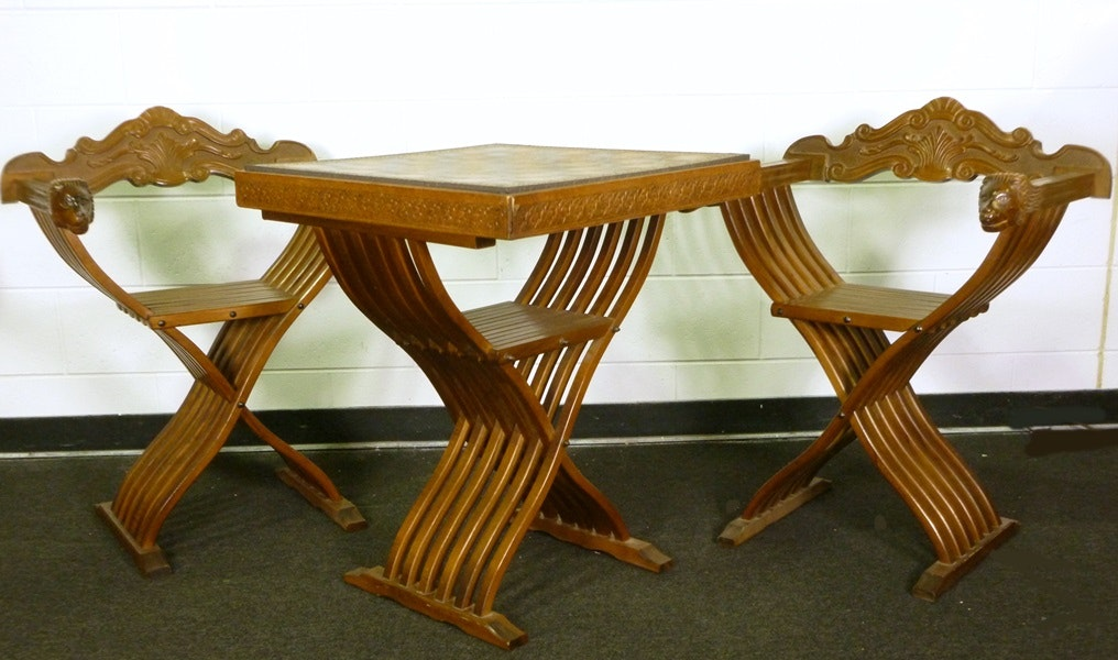 Savonarola Italian Folding Chess Table And Folding Chairs ...