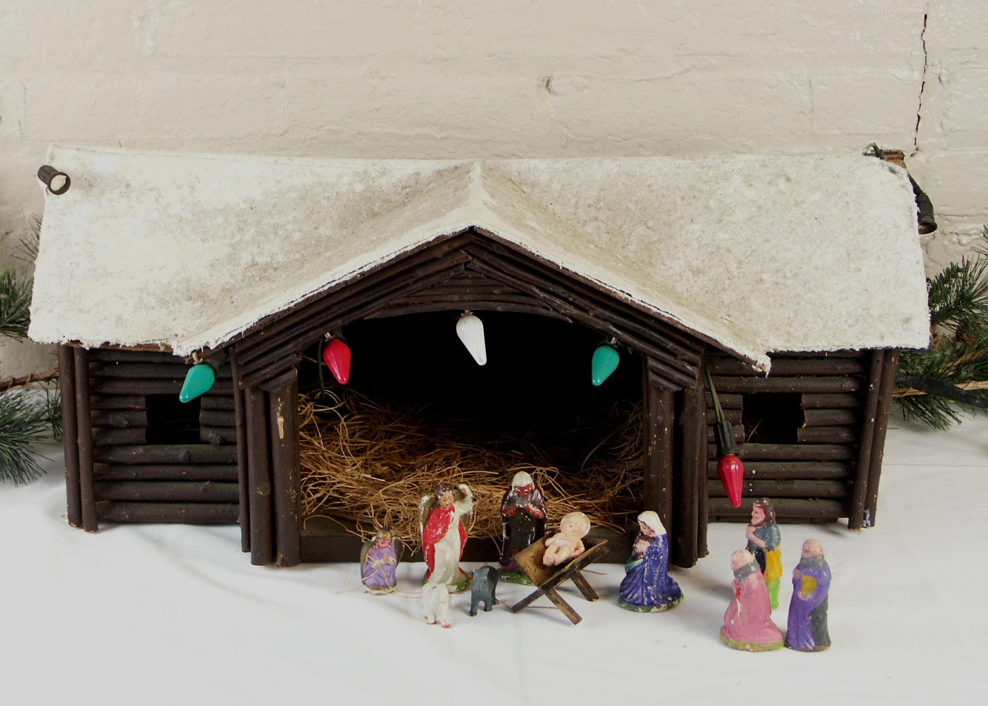 Vintage Creche with Hand Made Folk Art Stable