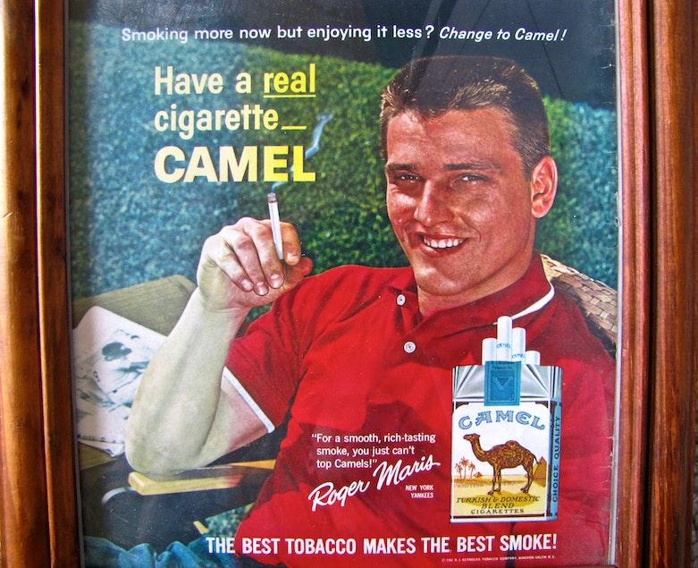 Framed 1962 Camel Cigarette Ad Featuring NY YankeesRoger Maris