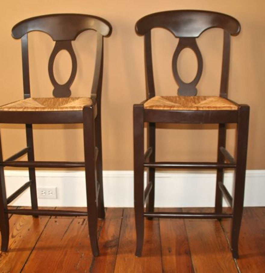 Pottery Barn French Country Style Rush Seat Bar Stools Ebth