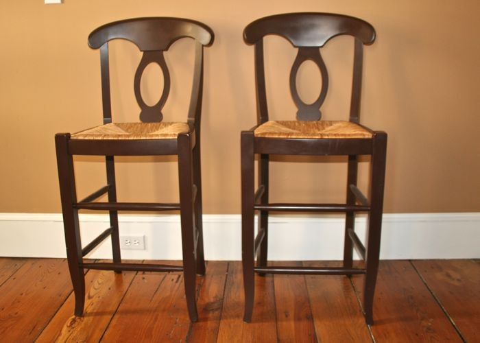 Pottery Barn French Country Style Rush Seat Bar Stools ... & Pottery Barn French Country Style Rush Seat Bar Stools : EBTH islam-shia.org
