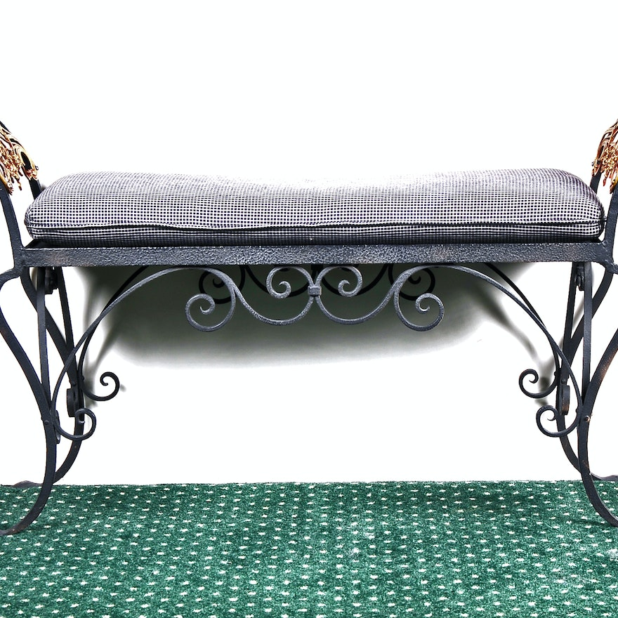 Backless Bench With Curved Arms