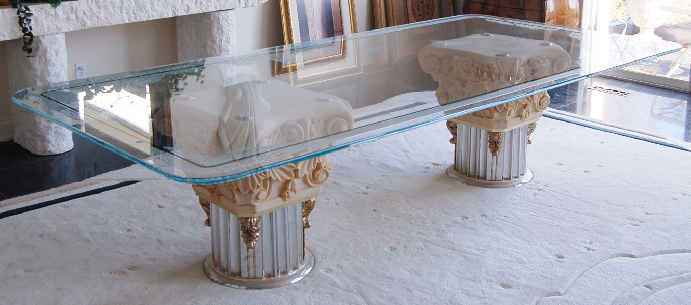 Hollywood Regency Glass Top Dining Table