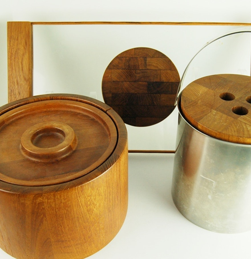 Teak Wood Pieces ~ Retro dansk ice bucket and teak wooden serving pieces ebth