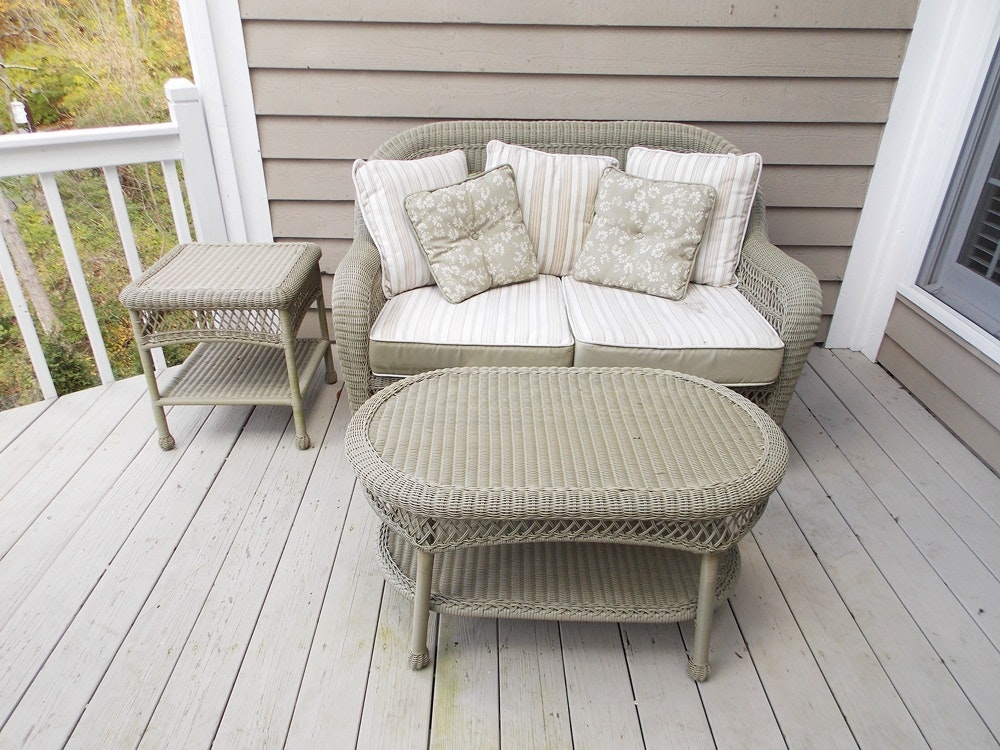 Martha Stewart Sage Green Wicker Like Porch Settee, Coffee Table And End  Table ...