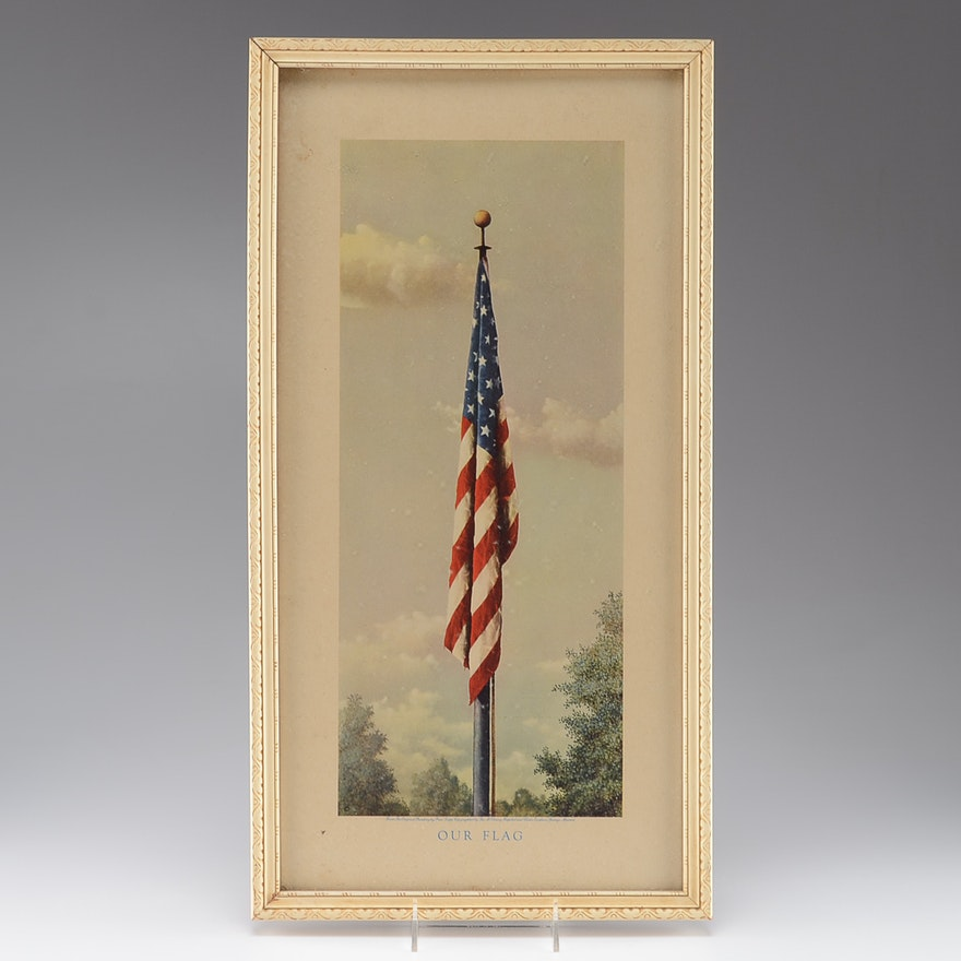 Vintage Framed Lithograph Print of American Flag and Flagpole : EBTH