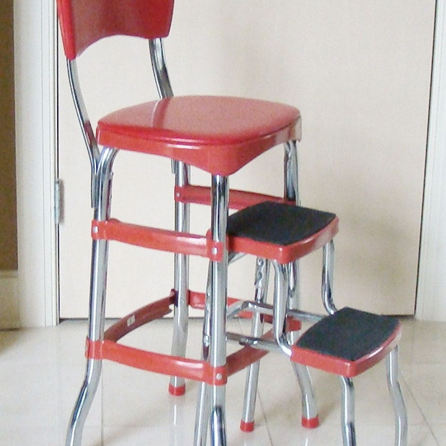 retro red metal step stool chair by costco ebth