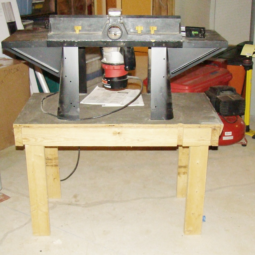 Craftsman router router table mounted on homemade table ebth craftsman router router table mounted on homemade table keyboard keysfo Gallery