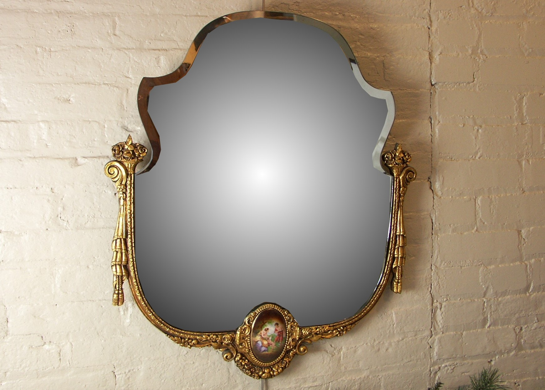 Ornate Provincial Style Mirror with Porcelain Pediment