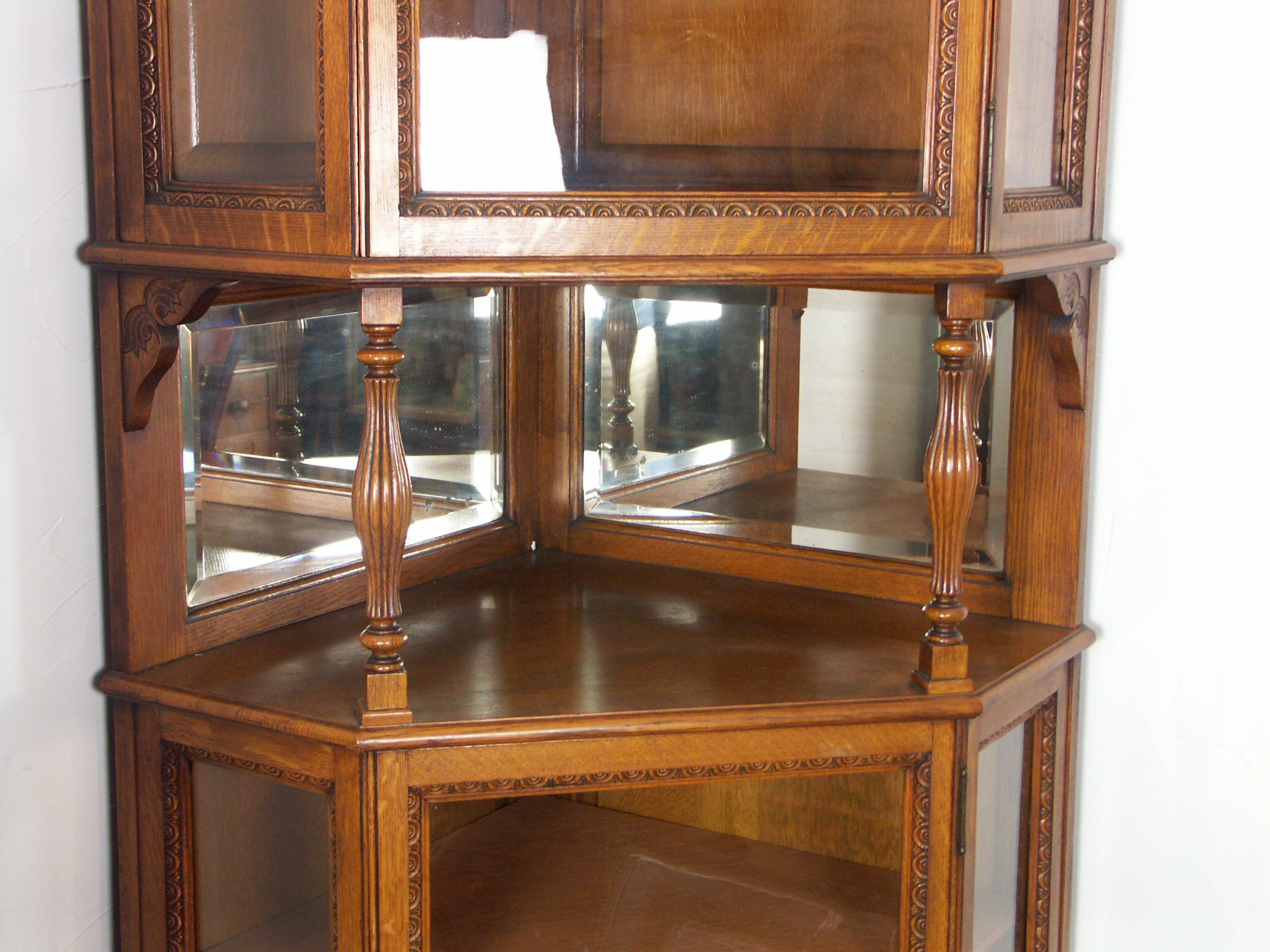 Antique Oak Victorian Corner Cabinet
