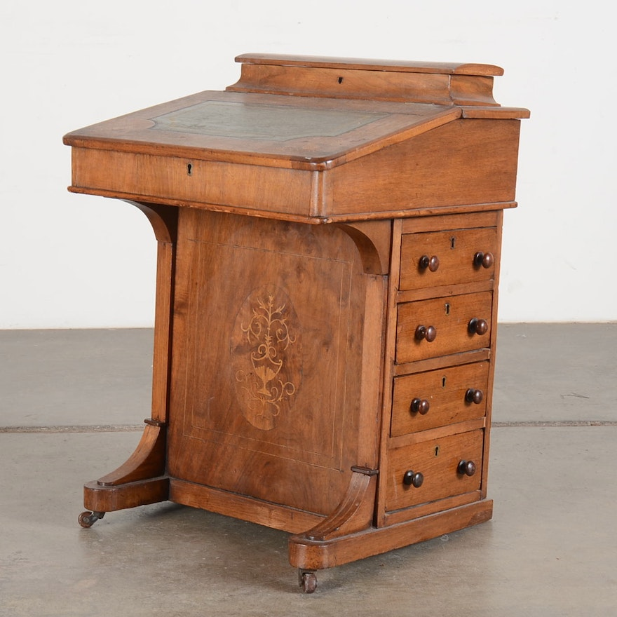 Antique Captain's English Davenport Desk ... - Antique Captain's English Davenport Desk : EBTH