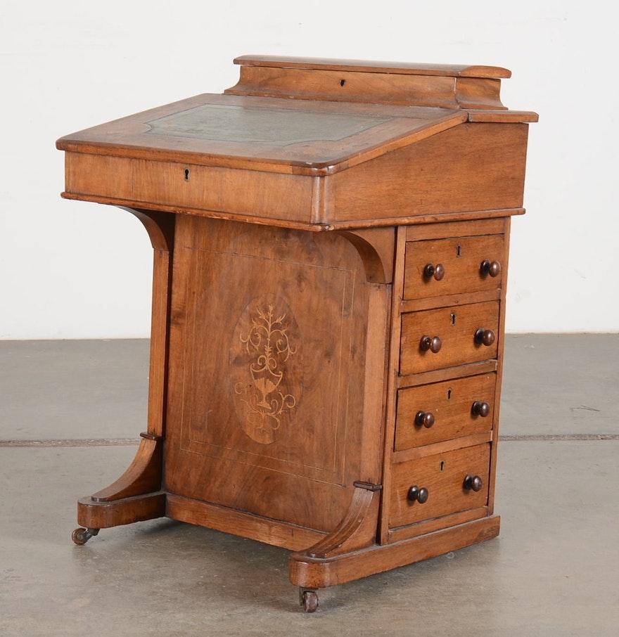 Antique Captain's English Davenport Desk - Online Furniture Auctions Vintage Furniture Auction Antique