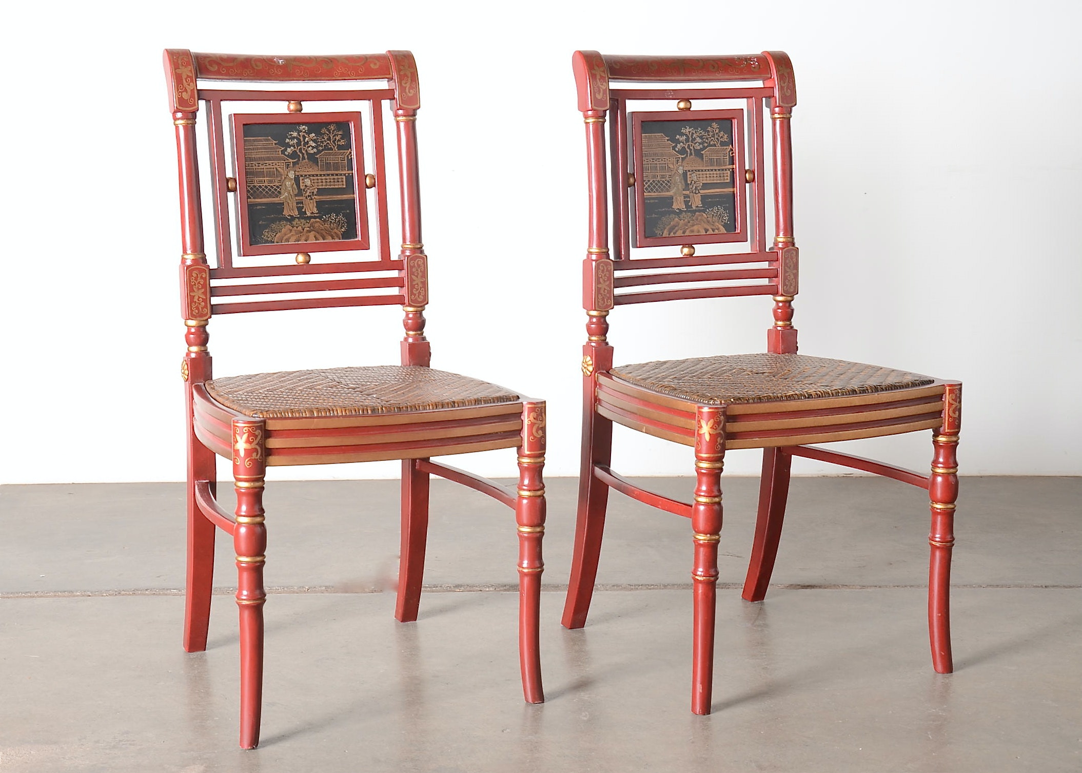 Pair Of Red Lacquer Asian Inspired Chairs