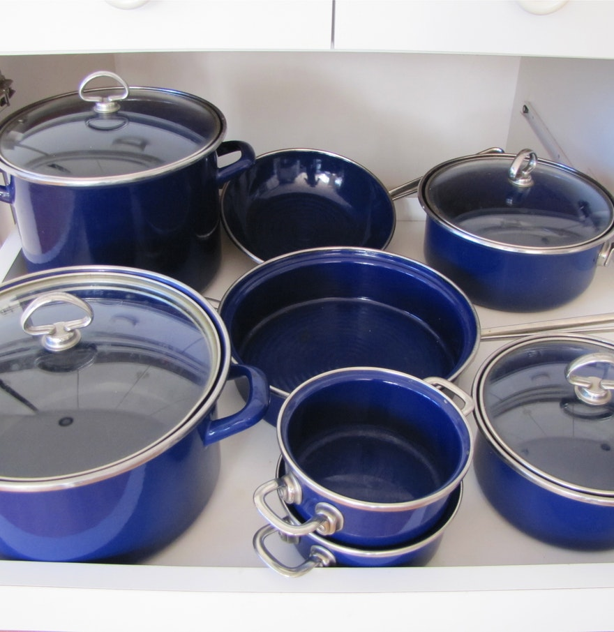 Chantal cookware cobalt blue made in west germany. Chantal glass lid fits perfectly on it. Please note that i am away until rd july so items purchased will be dispatched upon my return See complete description Notify me before the end of the auction.