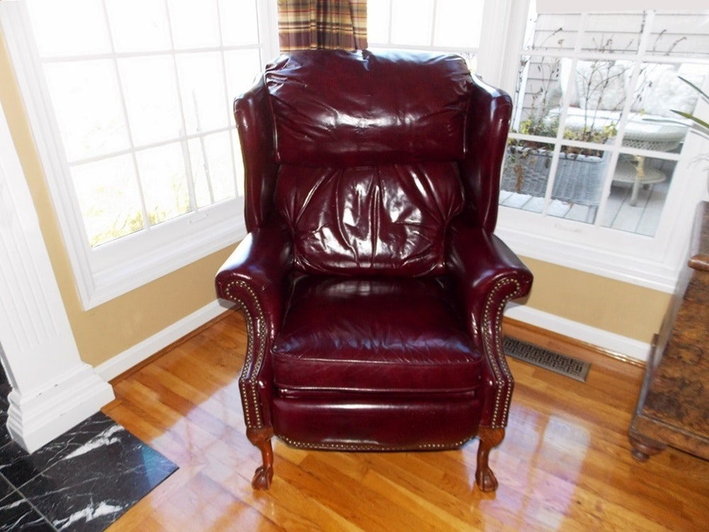 A Barcalounger Wing Back Reclining Chair In Burgundy Leather ...