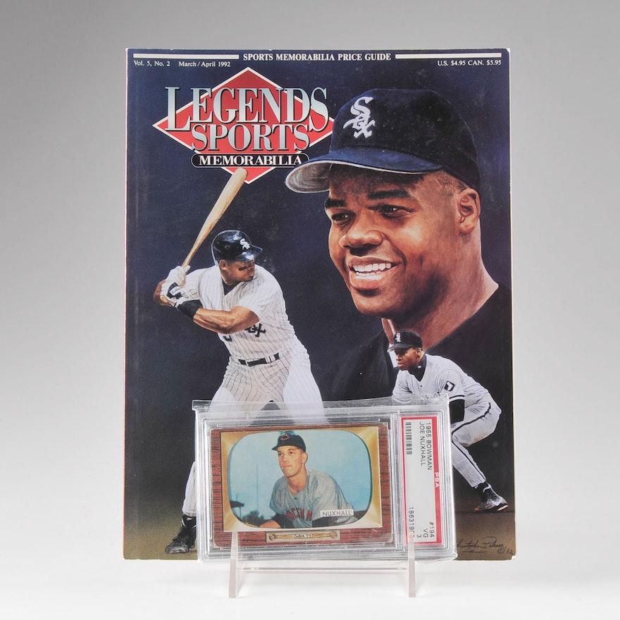 1955 Joe Nuxhall Graded Bowman And A 1992 Legends Sports Magazine