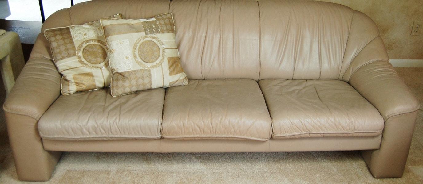 Natuzzi Taupe Leather Sofa ...