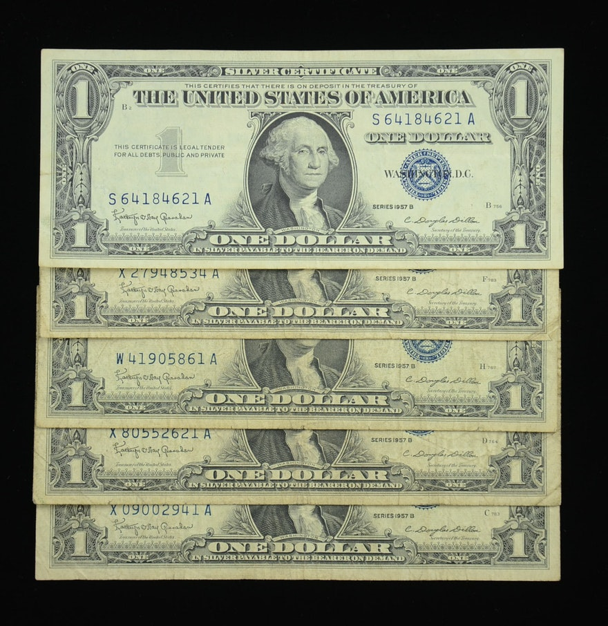Group of 5 1957 b blue seal one dollar silver certificates ebth group of 5 1957 b blue seal one dollar silver certificates xflitez Images