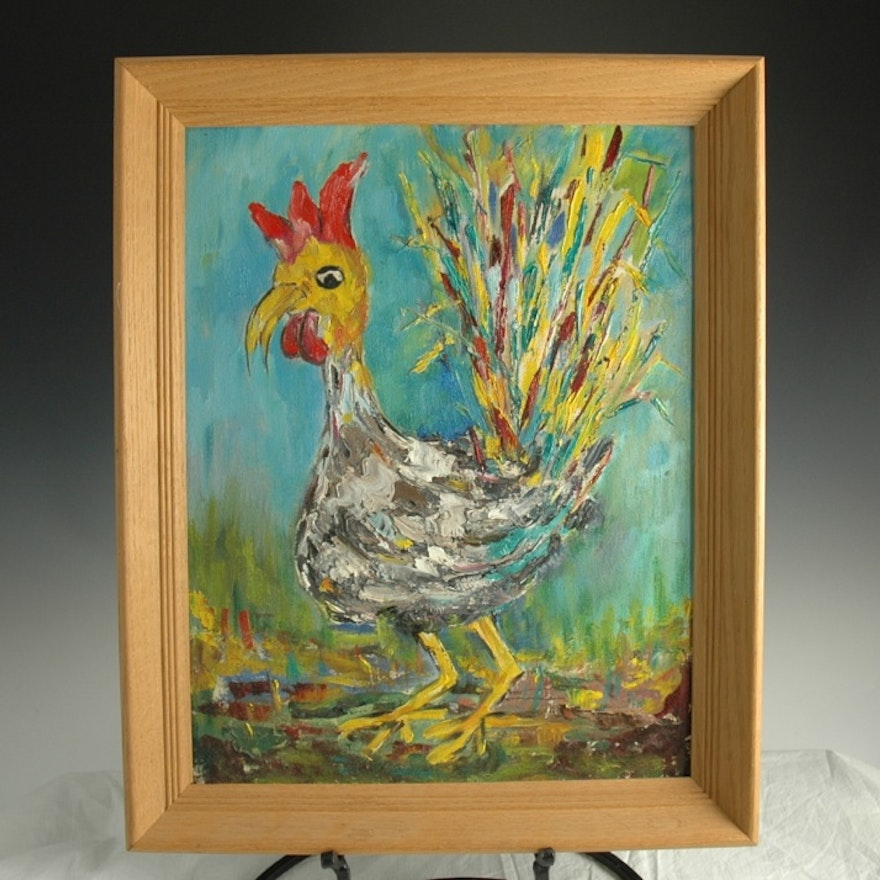 Vibrant Oil Painting Of Rooster In Wood Frame Ebth