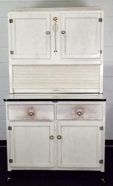 White Washed Original Hoosier Cabinet Ebth