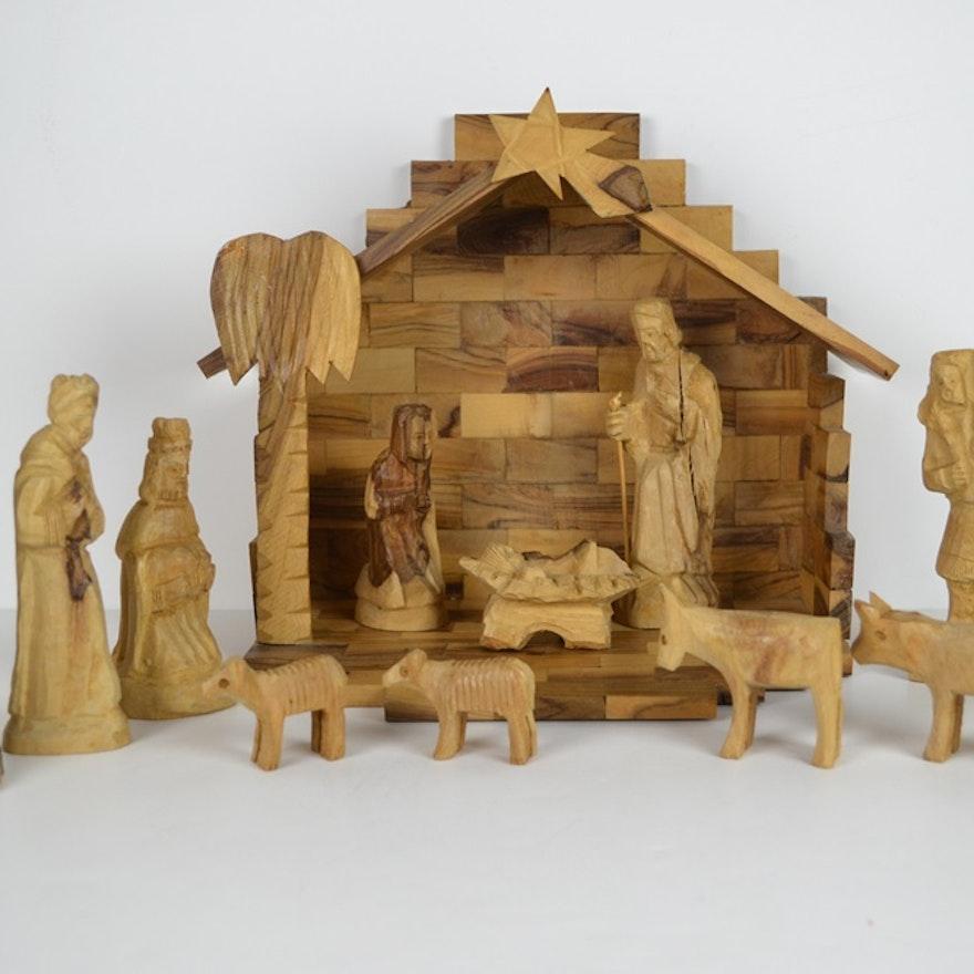 Twelve Piece Primitive Style Hand Carved Wooden Nativity Set