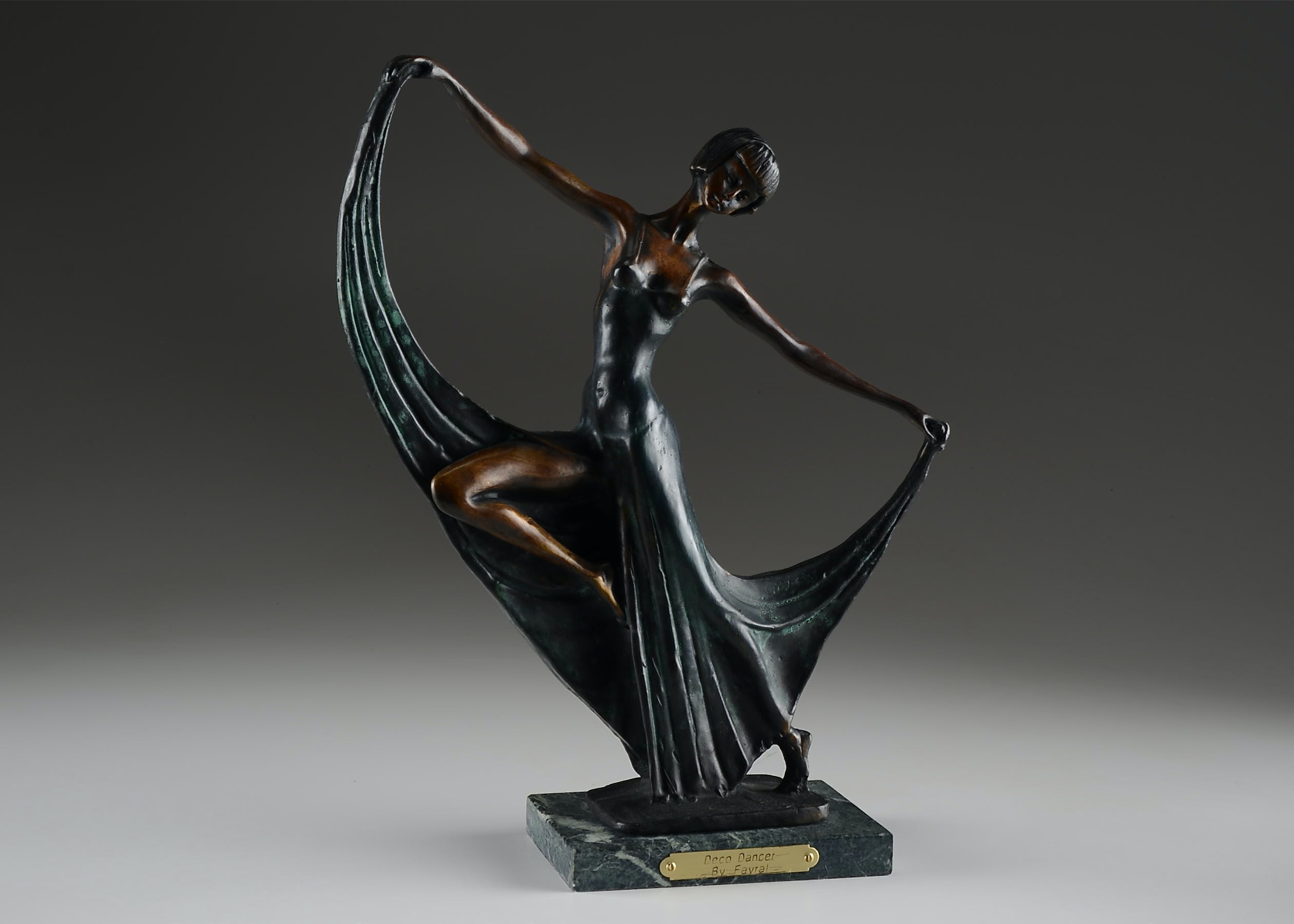Art Deco Style Bronze Statue, 'Deco Dancer' By Fayral : Ebth
