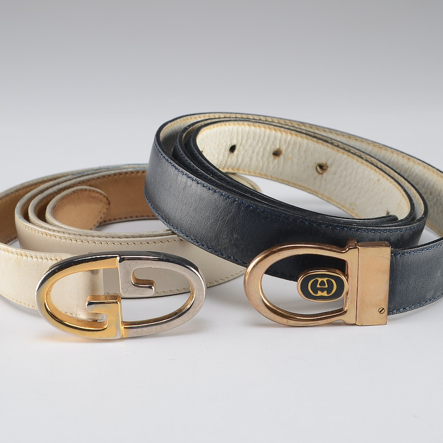 6e7803694ab Two Vintage Gucci Leather Belts   EBTH