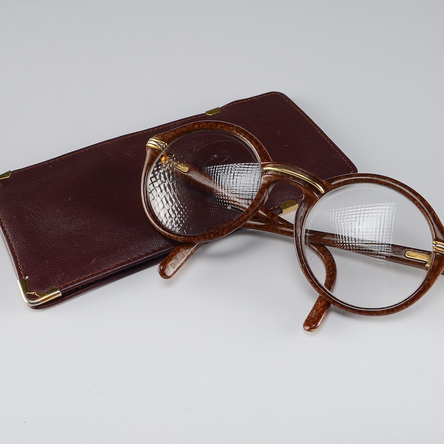 deb35aef24 Pair of Cartier Prescription Eyeglasses with Cartier Leather Case   EBTH