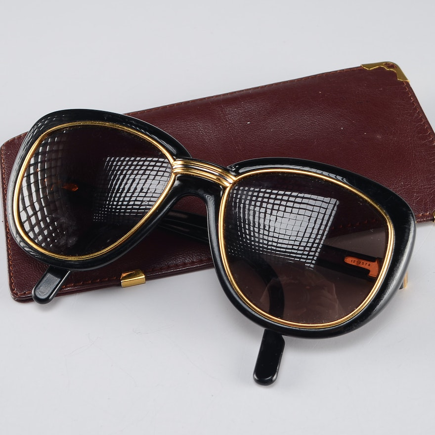 3fb3253b9f Pair of Cartier Prescription Sunglasses with Leather Case   EBTH