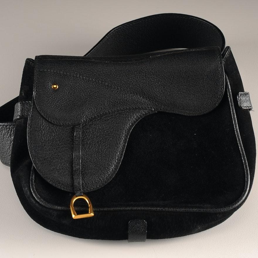 dcb15780559 Vintage Gucci Saddle Bag Belt in Black Suede Leather