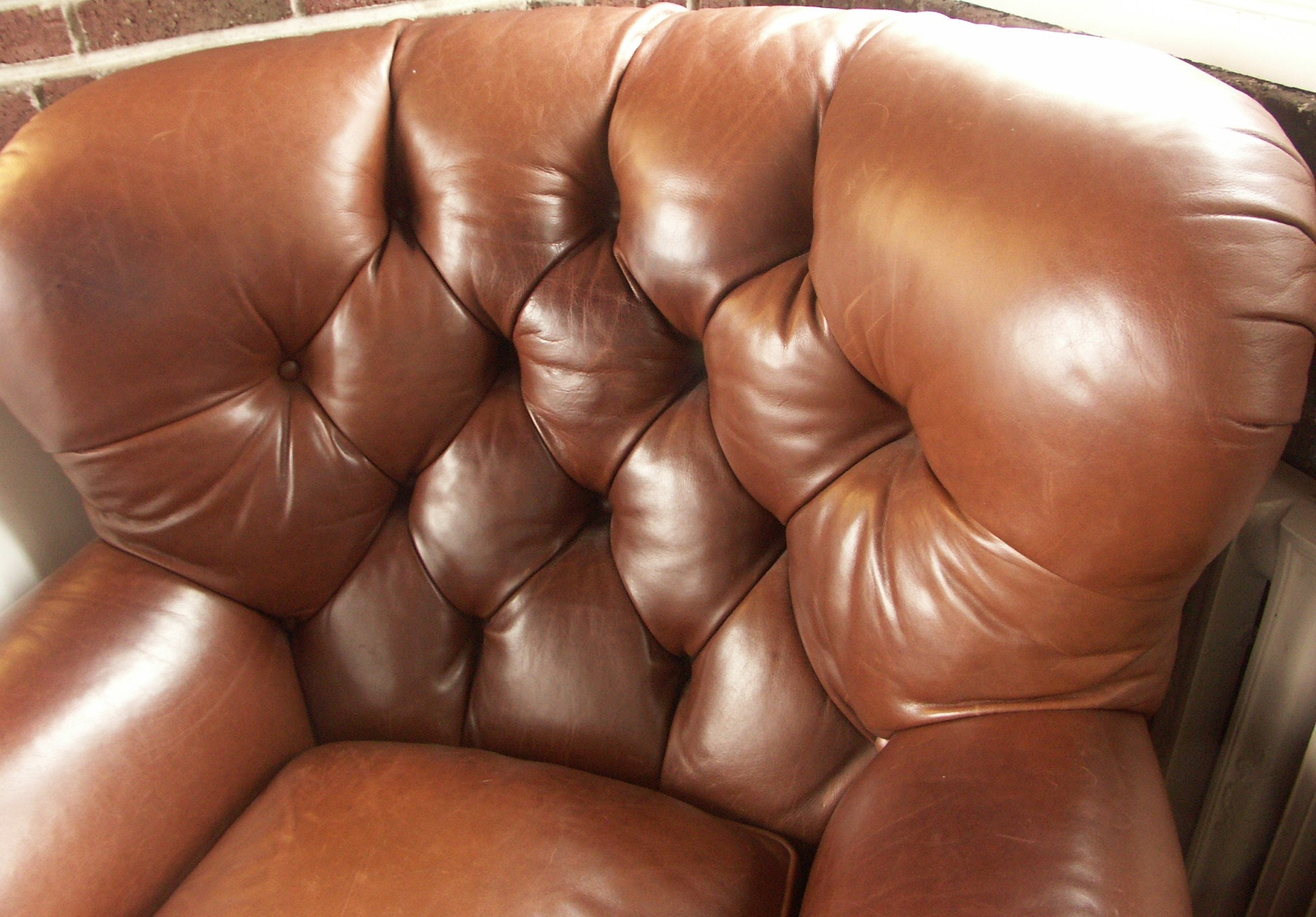Chocolate Brown Leather Fan Back Chair : EBTH